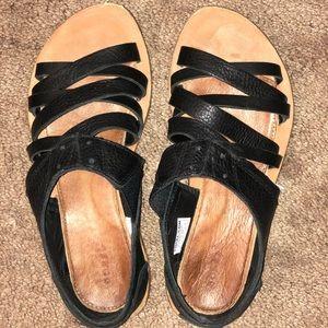 Sorel Black Leather Sandals